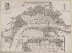 Grundtriss der Statt London wie solche vor und nach dem Brand anzusehen, sampt dem Newen Model, wie selbige widrum Auffgebauwet werden solle.